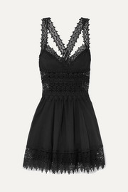 Charo Ruiz Marilyn crocheted lace-paneled cotton-blend mini dress