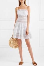 Joya crocheted lace cotton-blend  mini dress