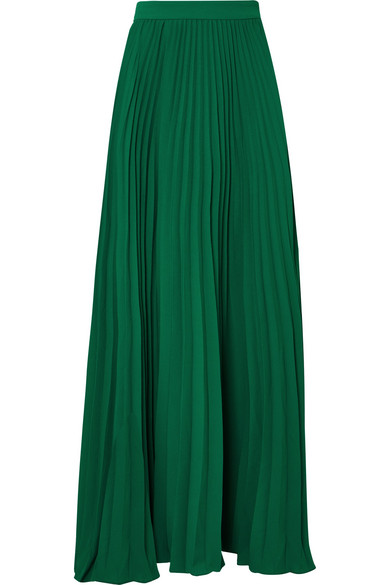 ADRIANA DEGREAS LE FLEUR PLEATED CREPE MAXI SKIRT