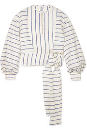 Rosie Assoulin Striped linen wrap top