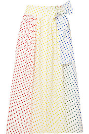 Polka-dot flocked cotton-blend poplin midi skirt
