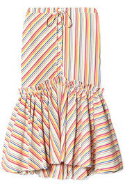 Rosie Assoulin Striped seersucker midi skirt