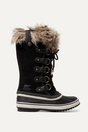 Joan of Arctic faux fur-trimmed waterproof suede and rubber boots