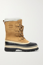 Caribou fleece-trimmed nubuck and rubber snow boots
