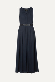 Belted wool-voile maxi dress