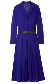 Belted wool-voile midi dress