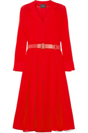 Belted wool-crepe midi dress