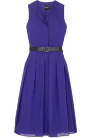 Belted pleated cotton-voile midi dress
