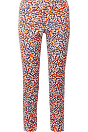 Frances cropped printed cotton-blend slim-leg pants
