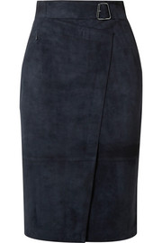 Akris Belted wrap-effect suede skirt