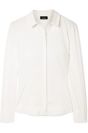 Cotton-blend poplin shirt