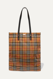 Burberry Leather-trimmed coated checked poplin tote