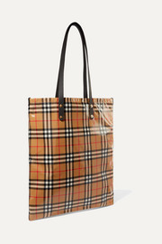 Leather-trimmed coated checked poplin tote