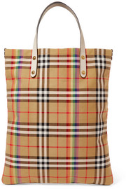 Burberry Leather-trimmed checked poplin tote