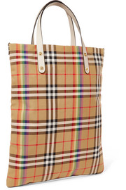 Leather-trimmed checked poplin tote