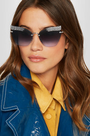 Crystal-embellished cat-eye silver-tone sunglasses