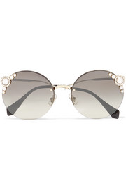 Embellished round-frame acetate and gold-tone sunglasses