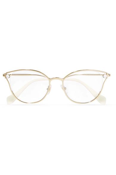 Glasses Eye Gold Modesens Optical Embellished Tone Miu Cat xqZ7wSYY1
