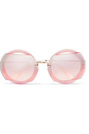Miu Miu Cutout round-frame glittered acetate and gold-tone sunglasses