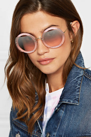 Cutout round-frame glittered acetate and gold-tone sunglasses