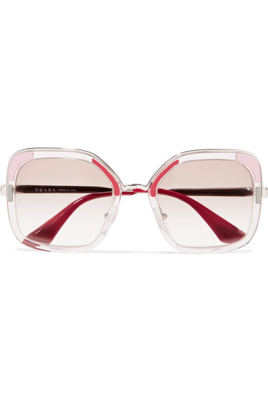 4d57b460eb4 Prada. Square-frame acetate and silver-tone sunglasses