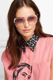Square-frame acetate and silver-tone sunglasses