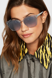 Cat-eye acetate and silver-tone mirrored sunglasses