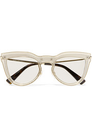 Valentino Garavani cat-eye layered acetate and gold-tone optical glasses