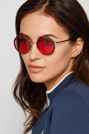 Crystal-embellished round-frame acetate sunglasses