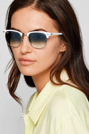 Clubmaster acetate and silver-tone sunglasses