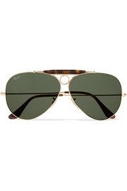 Ray-Ban Aviator gold-tone and tortoiseshell acetate sunglasses