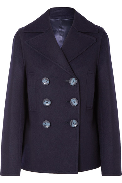 Hector Double-Breasted Wool-Blend Felt Coat, Navy