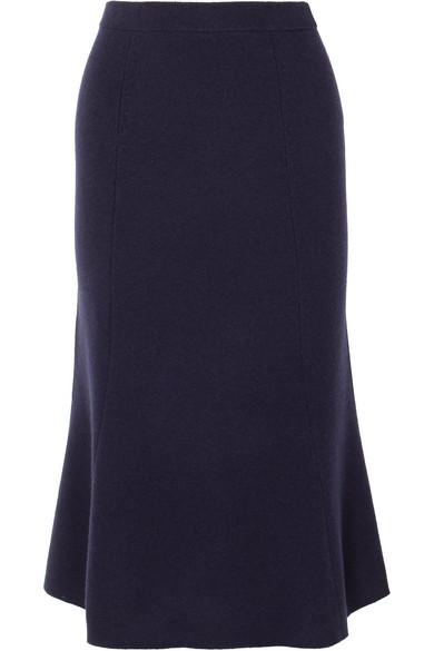 Joseph - Fluted Wool Midi Skirt - Navy