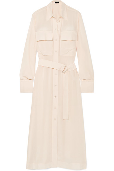 Warren Belted Silk Crepe De Chine Midi Dress