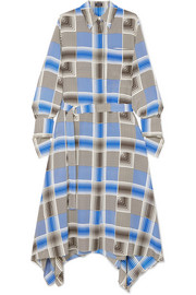 Cyprien belted checked silk crepe de chine midi dress