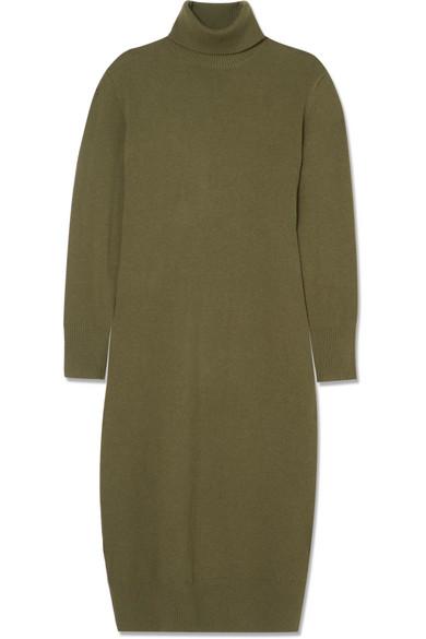 Sally Wool-Blend Turtleneck Midi Dress, Army Green