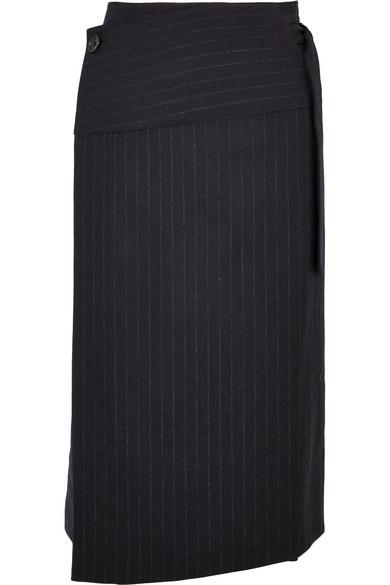 Joseph - Aiken Pinstriped Wool Wrap Skirt - Navy