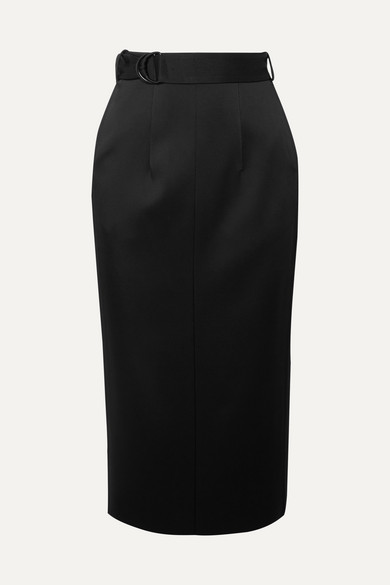 Byron Belted Satin Midi Skirt by Joseph