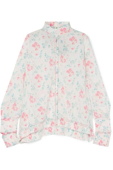 Antoine Floral-Print Silk Crepe De Chine Blouse, White