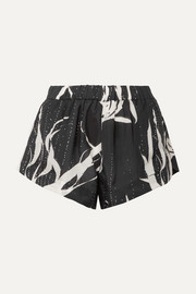 Double Rainbouu Printed washed-satin shorts