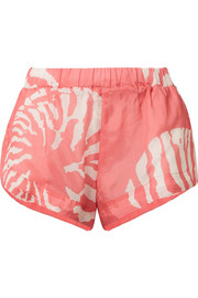 Printed washed-satin shorts