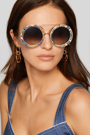 Round-frame printed acetate and gold-tone convertible sunglasses