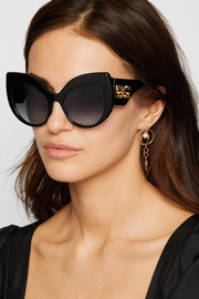 Crystal-embellished cat-eye acetate sunglasses