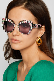 Cat-eye printed acetate and gold-tone sunglasses
