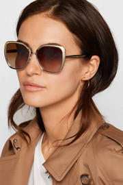 Butterfly-frame silver and gold-tone sunglasses