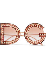 Dolce & Gabbana Crystal-embellished acetate and rose gold-tone sunglasses