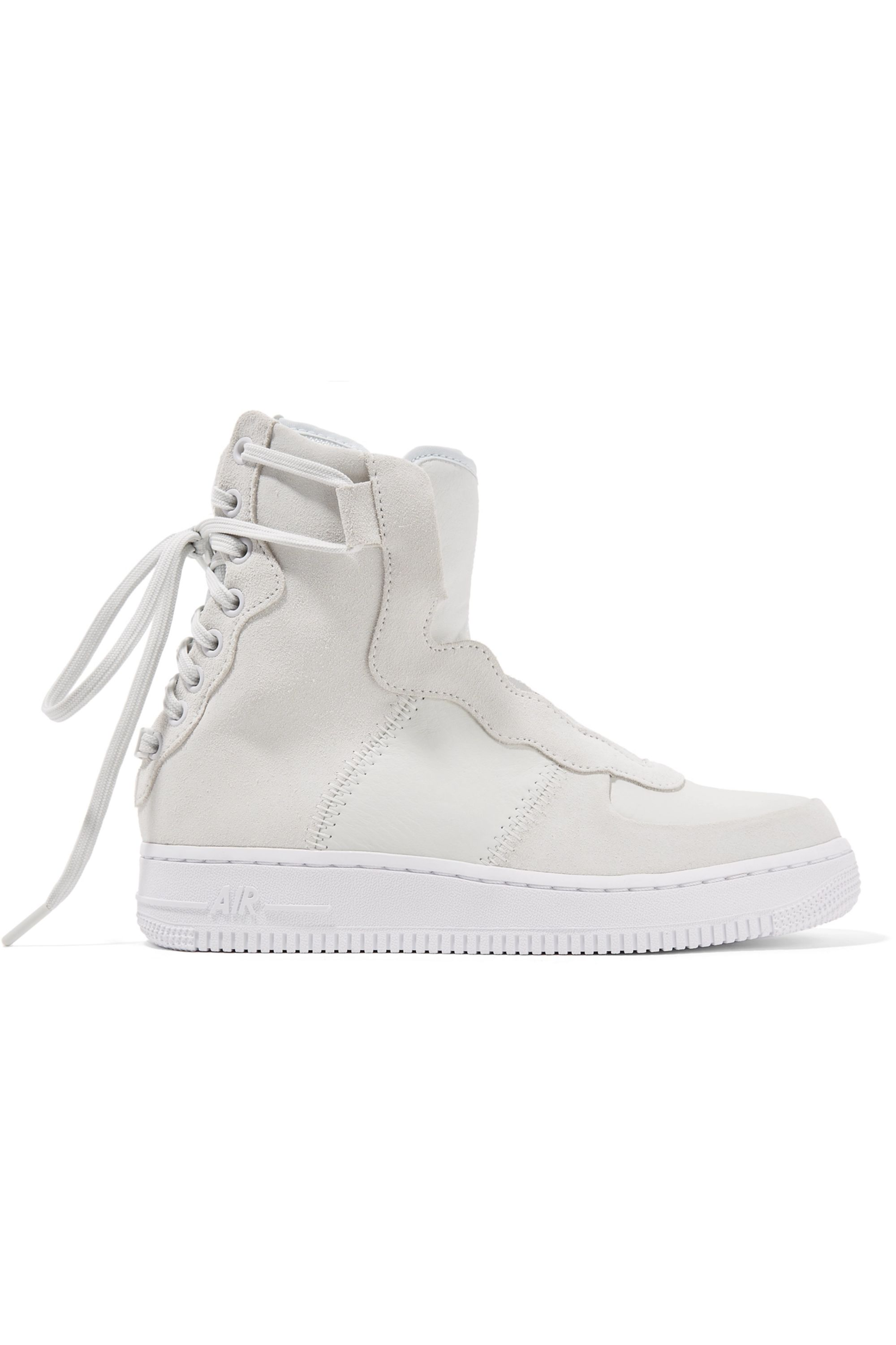 Nike The 1 Reimagined Air Force 1 Rebel XX suede and leather high-top sneakers