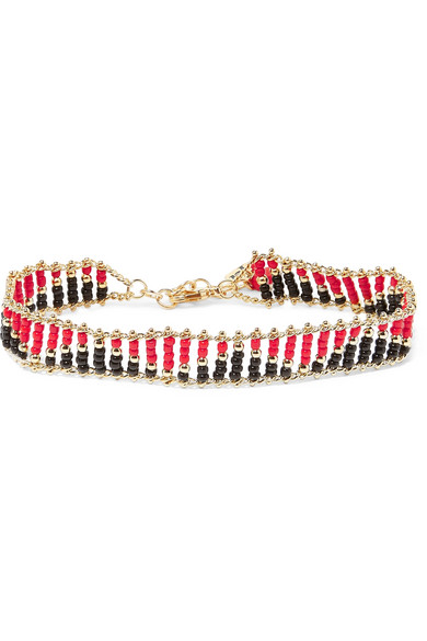 Rosantica Dakota Gold-tone Beaded Anklet - Red Fazzq