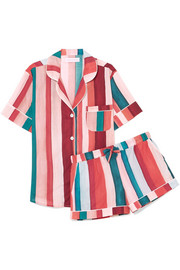 Desmond & Dempsey Striped cotton-voile pajama set
