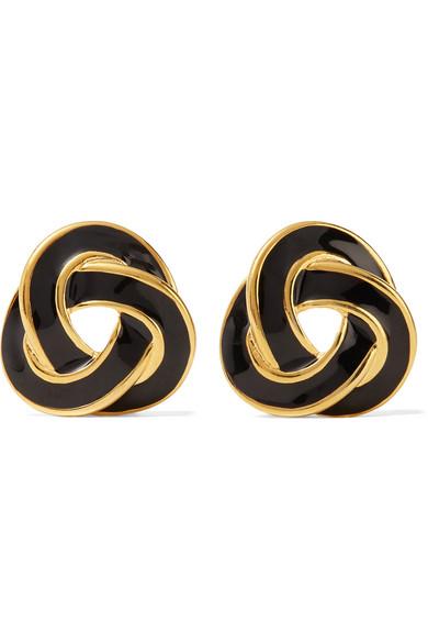 Gold Tone Enamel Clip Earrings by Kenneth Jay Lane